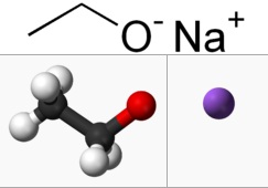 Ball and stick model of anions and cations in sodium ethoxide