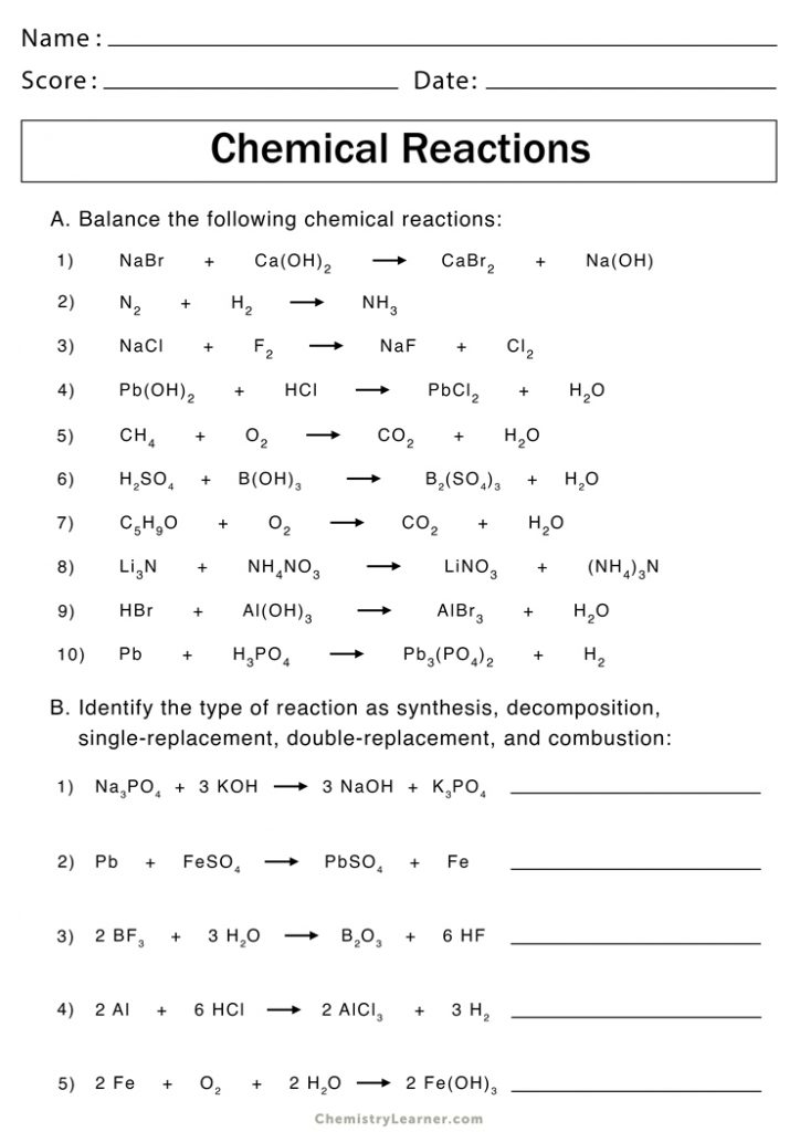 Types of Chemical Reactions Worksheets   Chemistry Learner